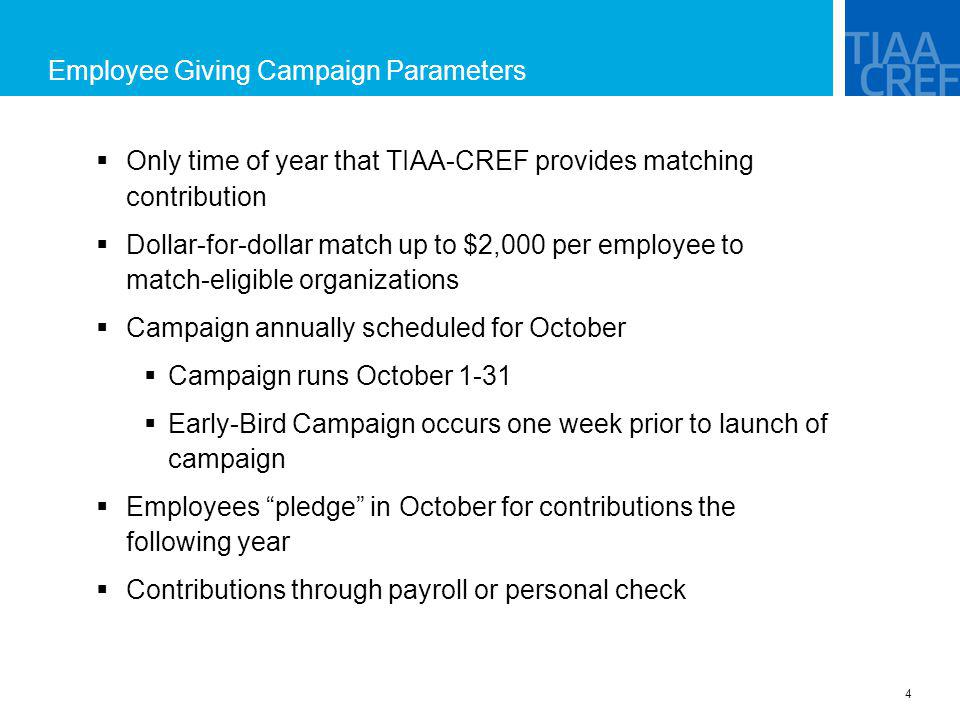 Employee Giving Campaign Parameters