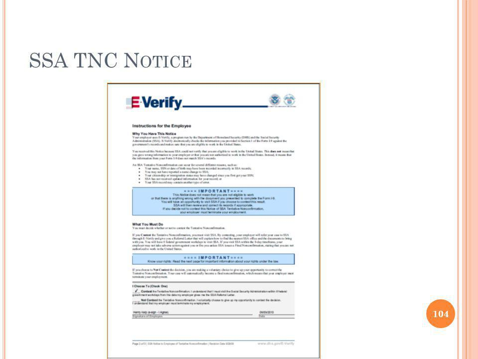 SSA TNC Notice