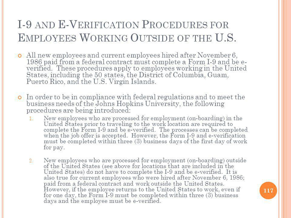 I-9 and E-Verification Procedures for Employees Working Outside of the U.S.