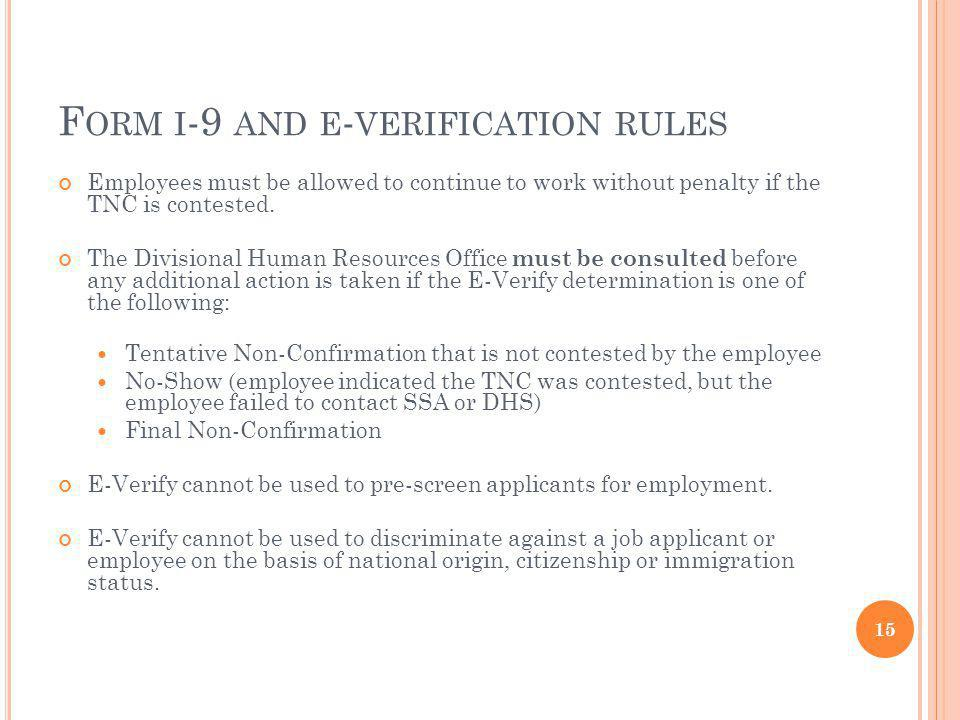 Form i-9 and e-verification rules
