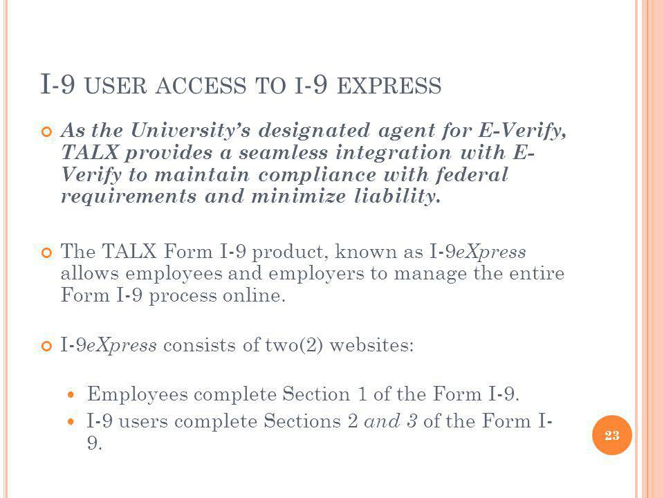 I-9 user access to i-9 express