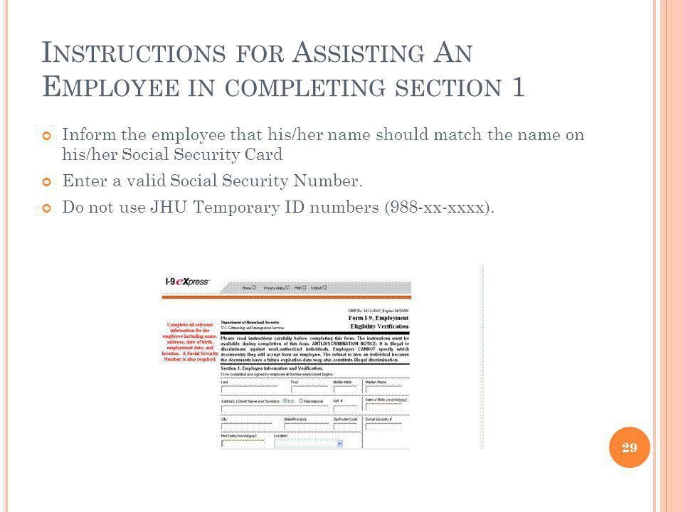 Instructions for Assisting An Employee in completing section 1