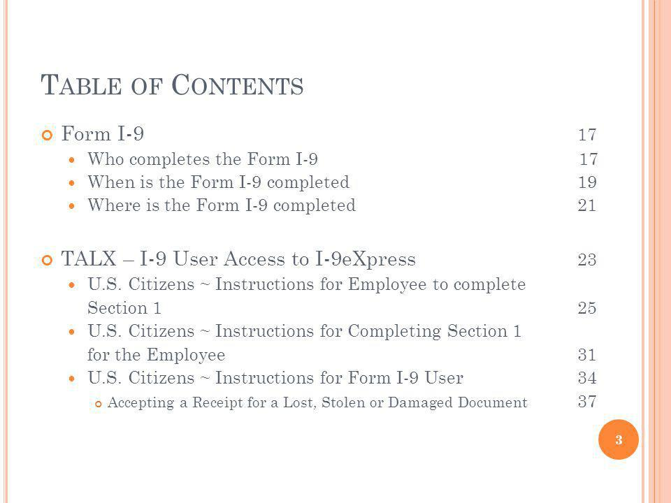 Table of Contents Form I-9 17 TALX – I-9 User Access to I-9eXpress 23