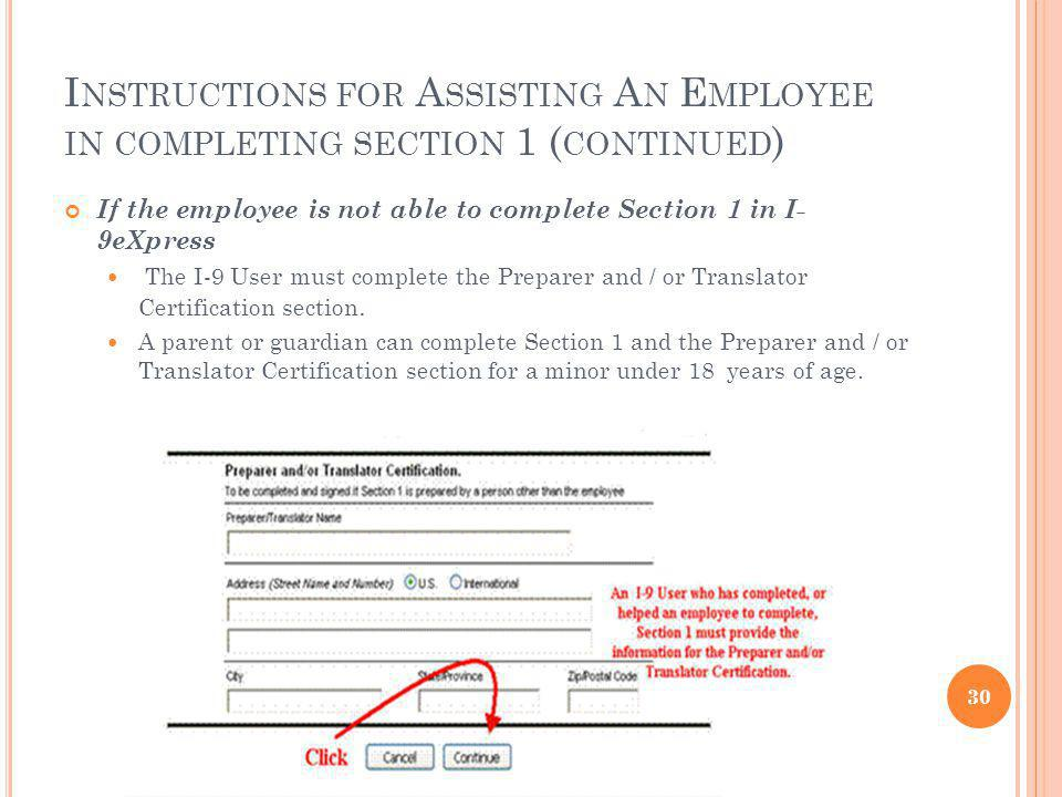 Instructions for Assisting An Employee in completing section 1 (continued)
