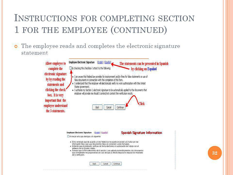 Instructions for completing section 1 for the employee (continued)