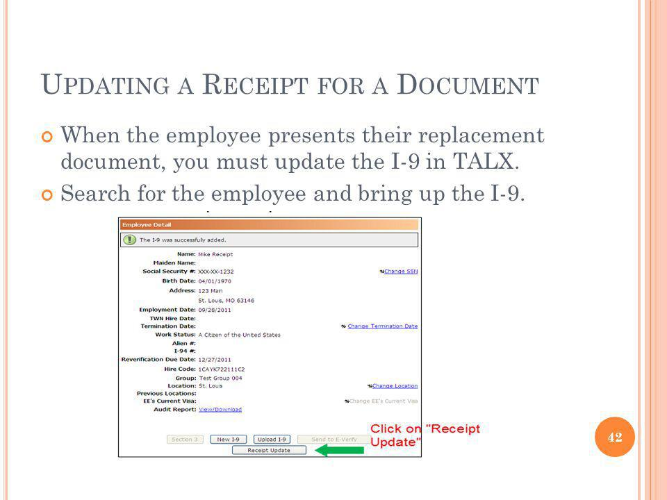 Updating a Receipt for a Document