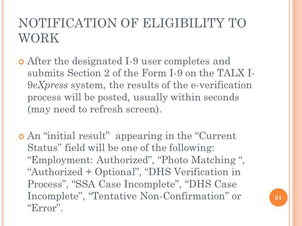 NOTIFICATION OF ELIGIBILITY TO WORK