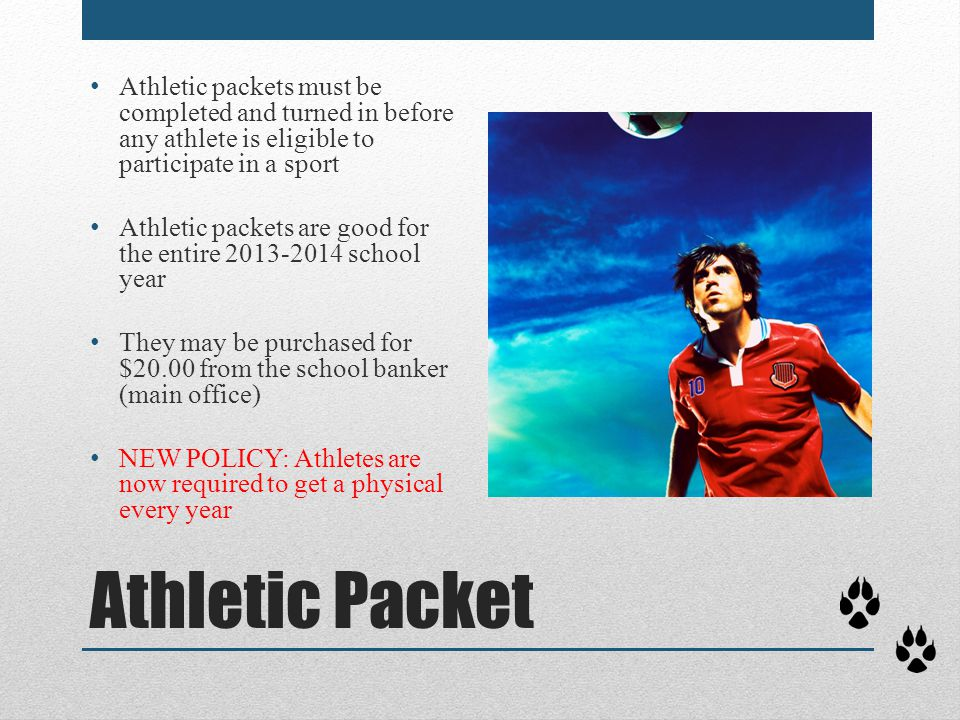 Athletic packets must be completed and turned in before any athlete is eligible to participate in a sport