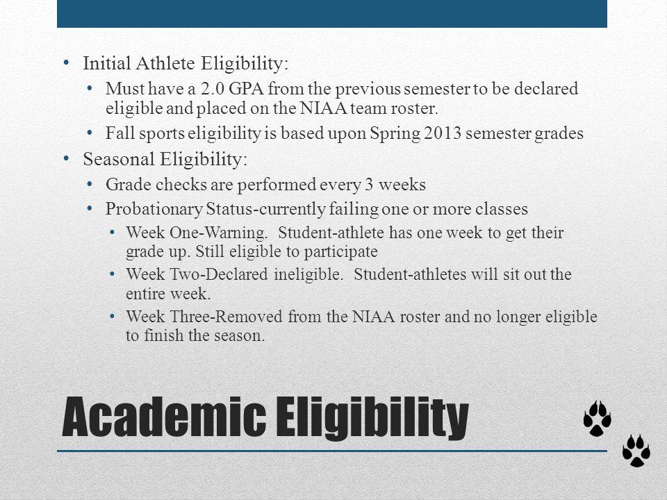 Academic Eligibility Initial Athlete Eligibility: