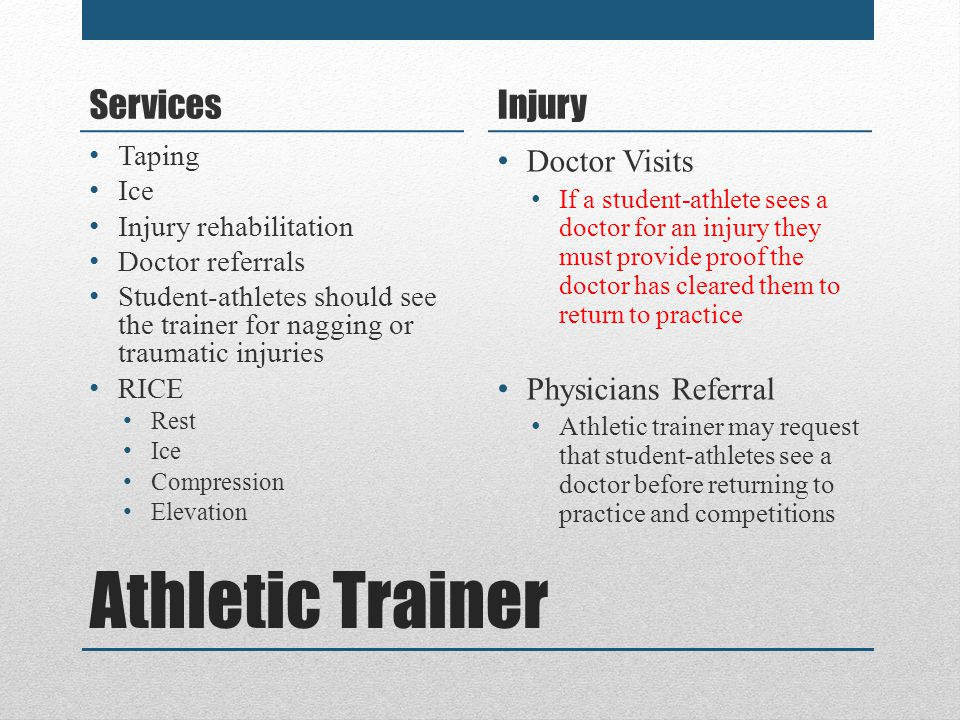 Athletic Trainer Services Injury Doctor Visits Physicians Referral