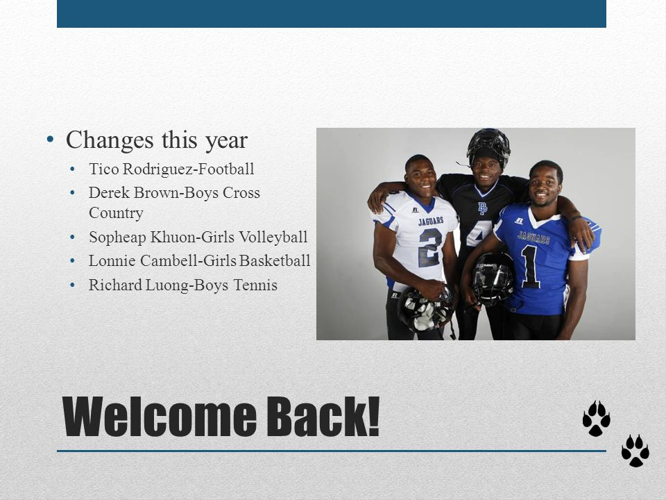 Welcome Back! Changes this year Tico Rodriguez-Football