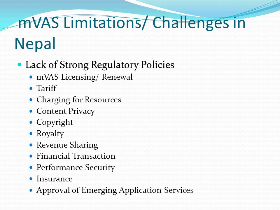 mVAS Limitations/ Challenges in Nepal