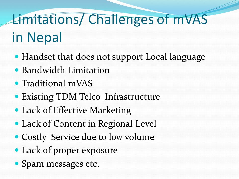 Limitations/ Challenges of mVAS in Nepal