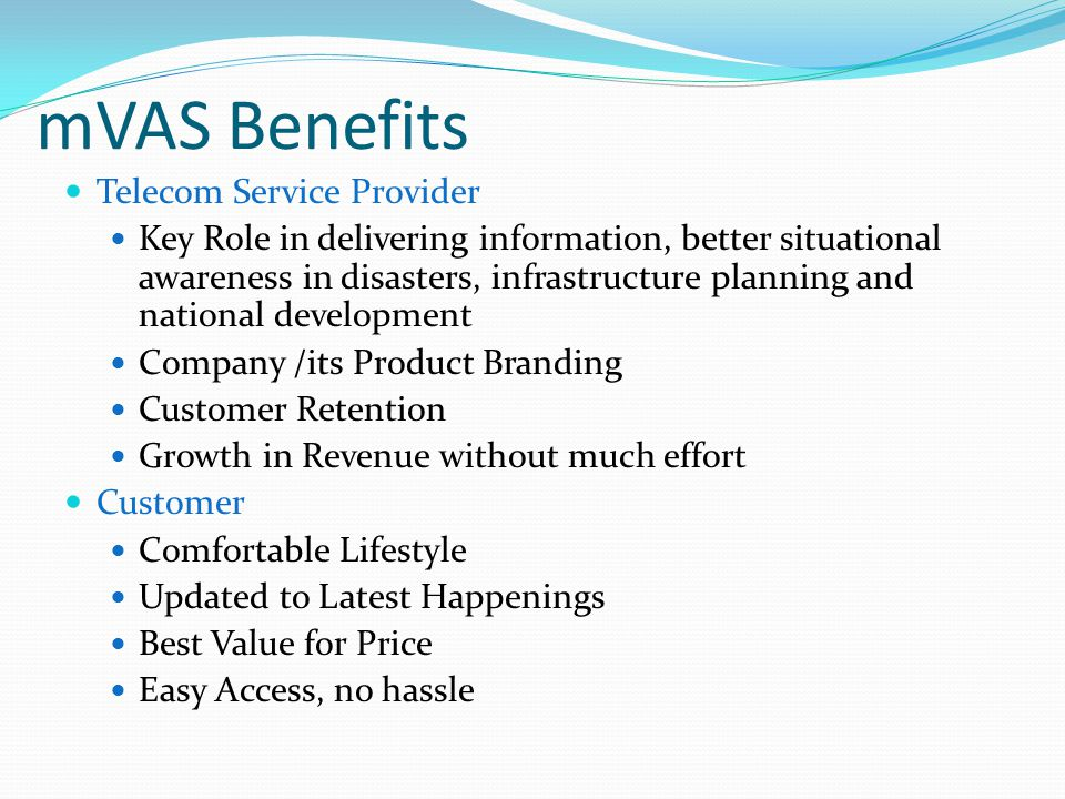 mVAS Benefits Telecom Service Provider