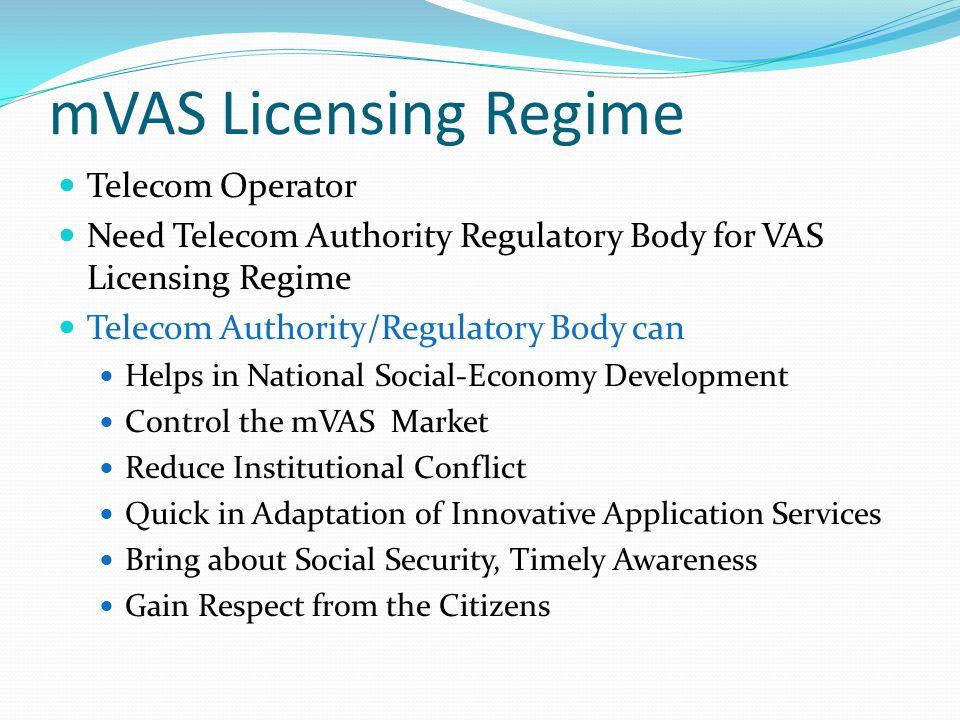 mVAS Licensing Regime Telecom Operator