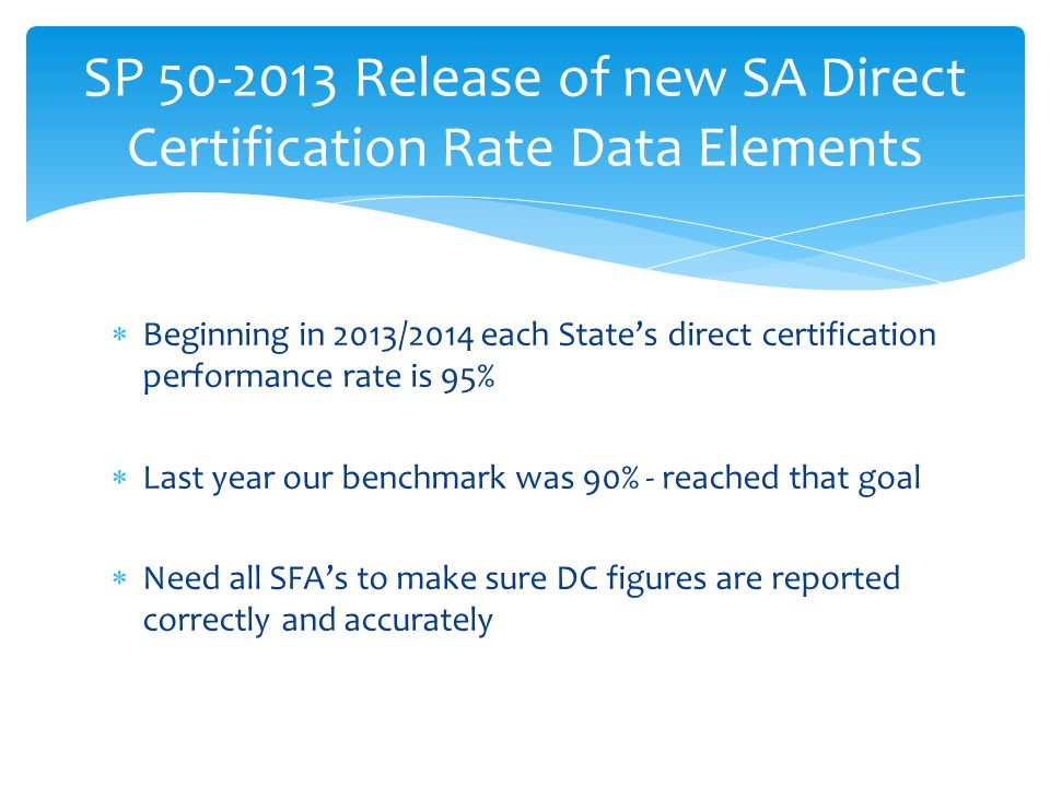 SP 50-2013 Release of new SA Direct Certification Rate Data Elements