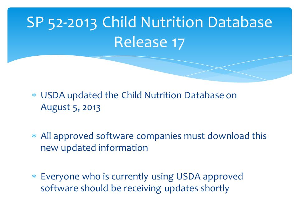 SP 52-2013 Child Nutrition Database Release 17
