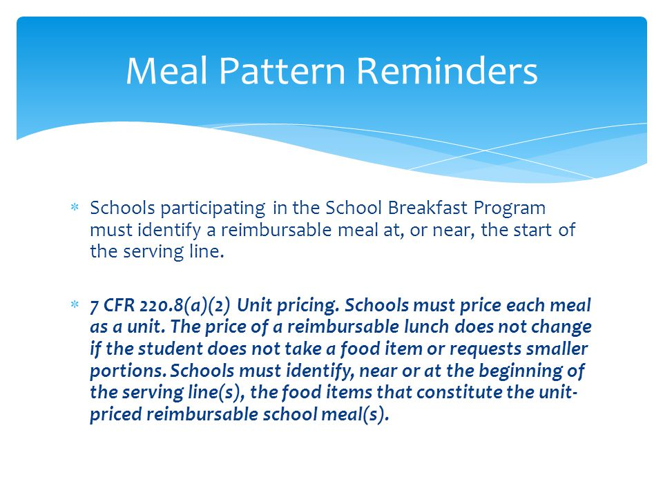 Meal Pattern Reminders