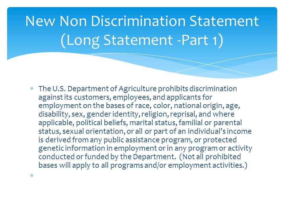 New Non Discrimination Statement (Long Statement -Part 1)