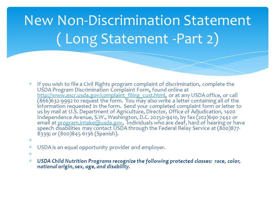 New Non-Discrimination Statement ( Long Statement -Part 2)