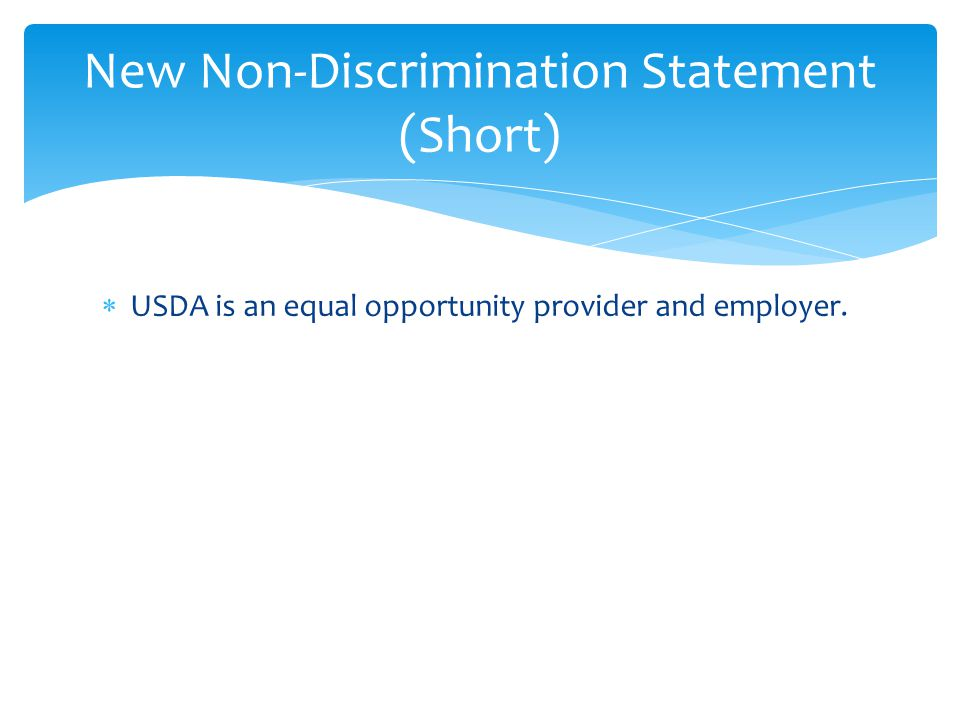 New Non-Discrimination Statement (Short)