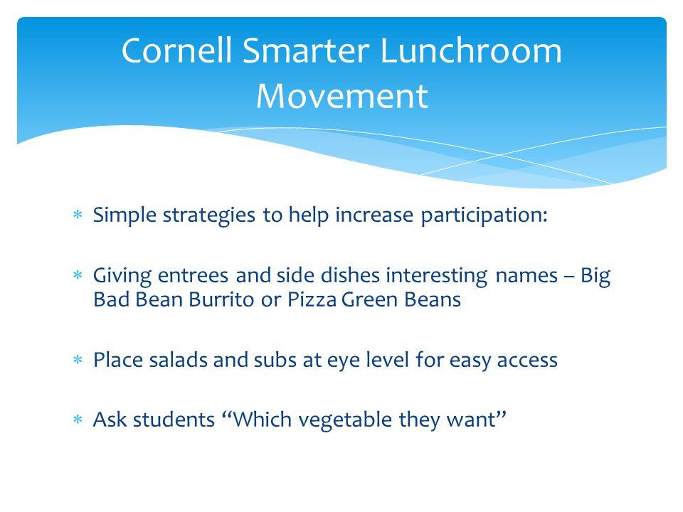 Cornell Smarter Lunchroom Movement