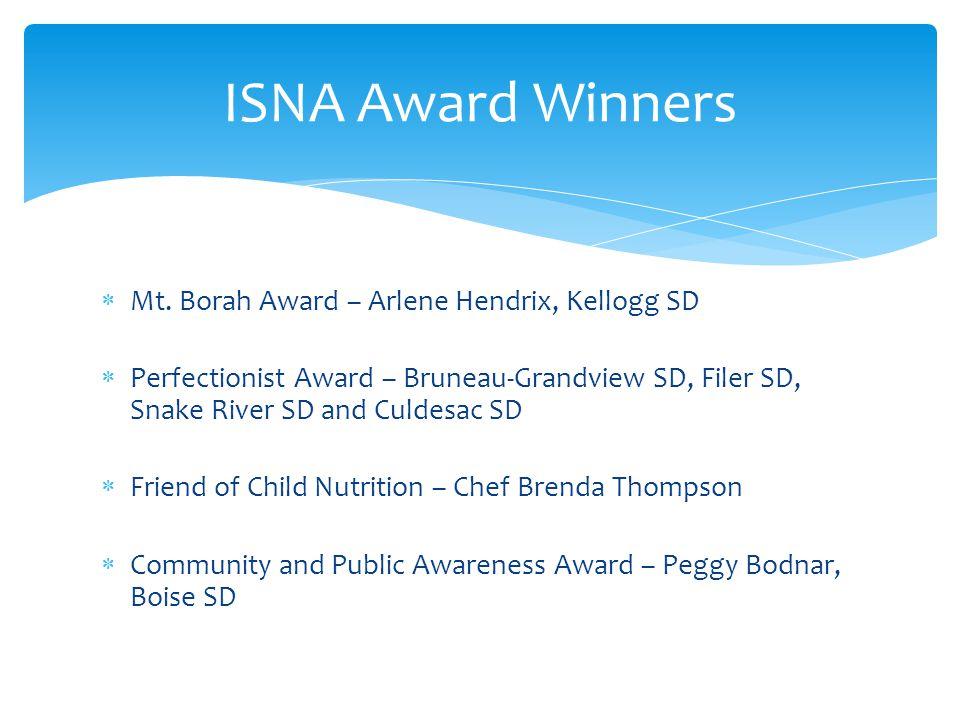 ISNA Award Winners Mt. Borah Award – Arlene Hendrix, Kellogg SD