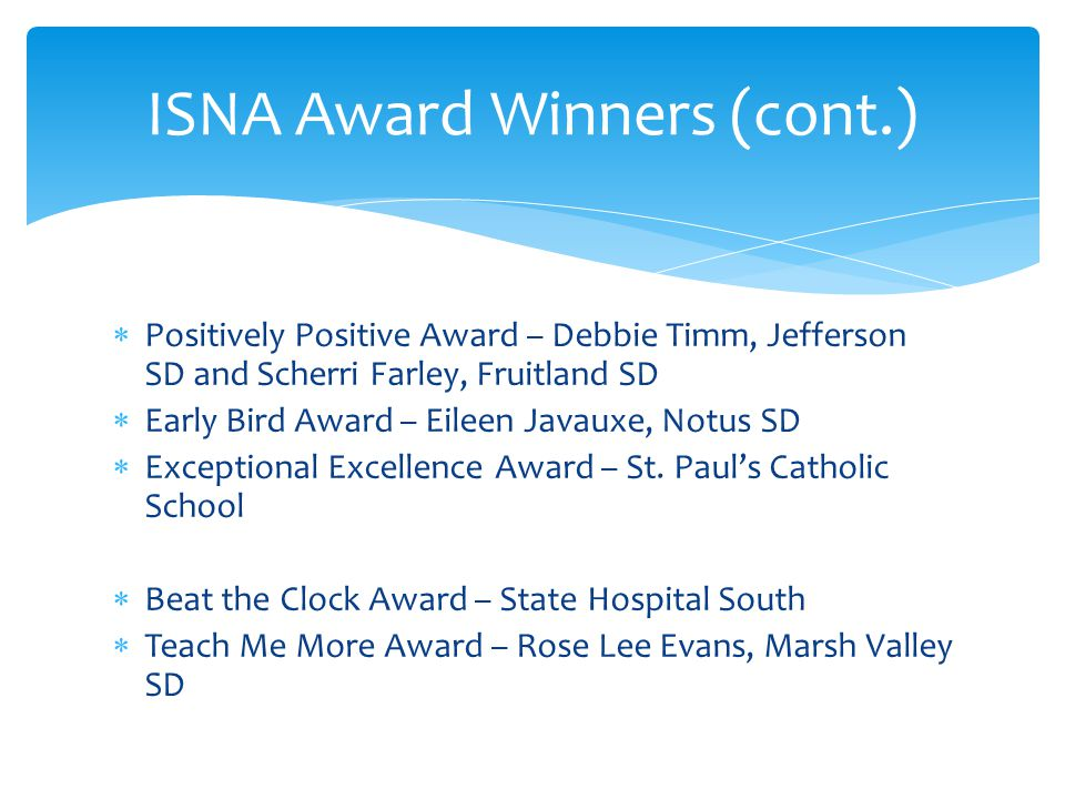 ISNA Award Winners (cont.)