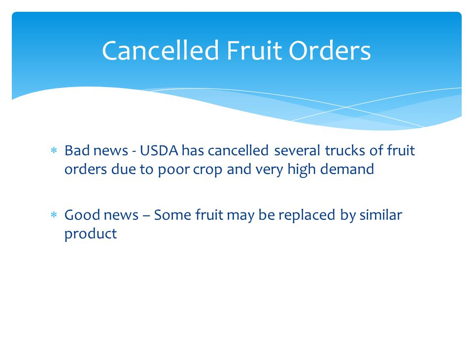 Cancelled Fruit Orders