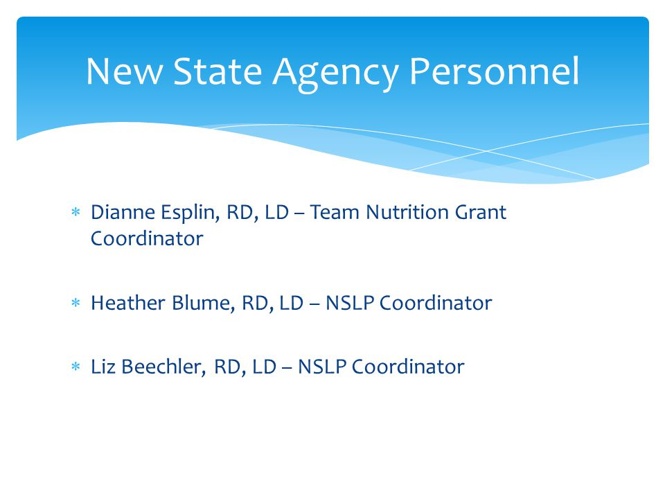 New State Agency Personnel