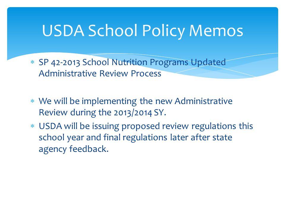 USDA School Policy Memos