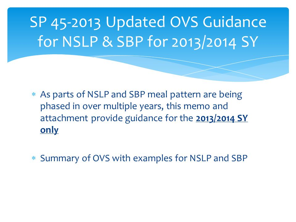 SP 45-2013 Updated OVS Guidance for NSLP & SBP for 2013/2014 SY