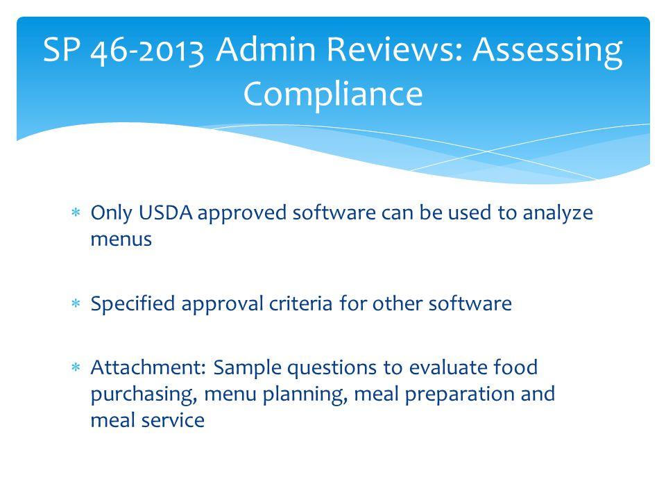 SP 46-2013 Admin Reviews: Assessing Compliance
