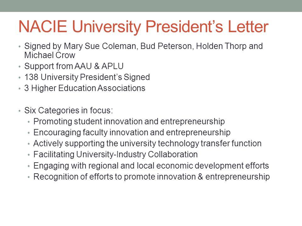 NACIE University President's Letter