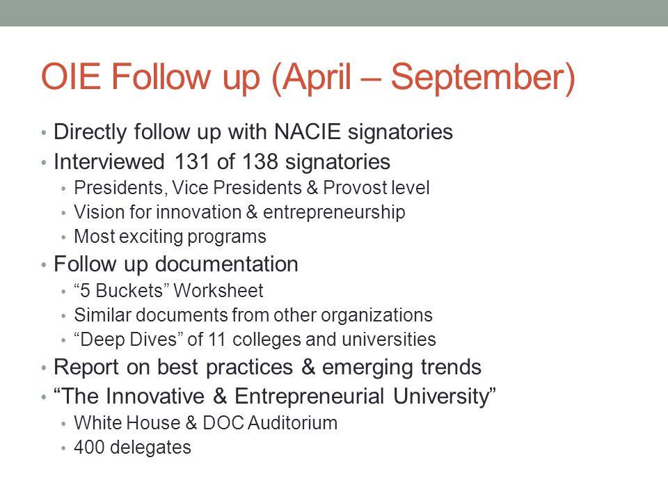 OIE Follow up (April – September)