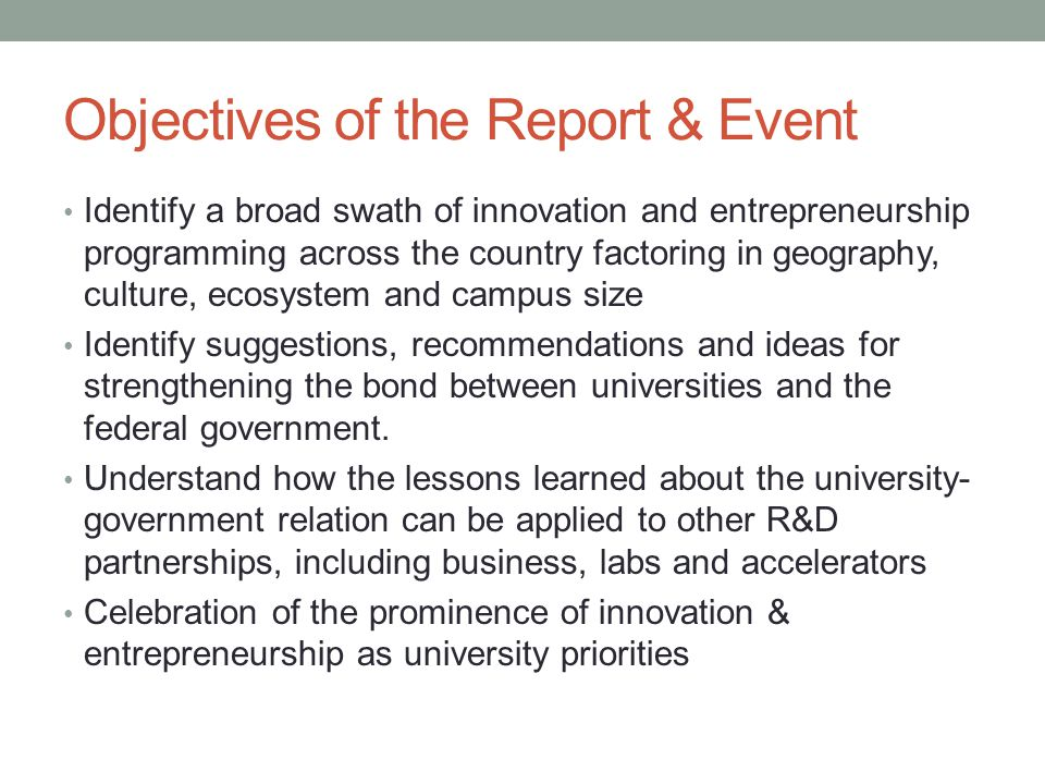 Objectives of the Report & Event