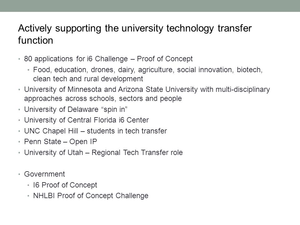 Actively supporting the university technology transfer function