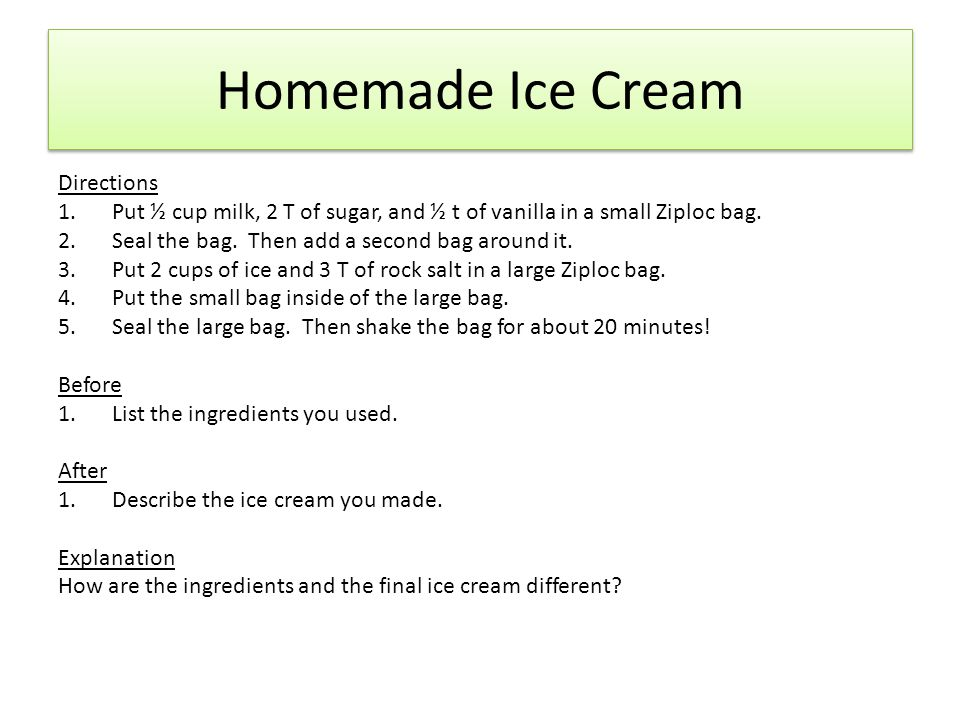 Homemade Ice Cream Directions