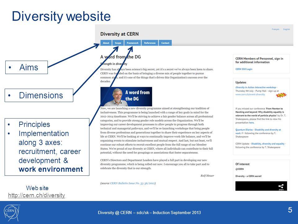 Diversity website Aims Dimensions Principles