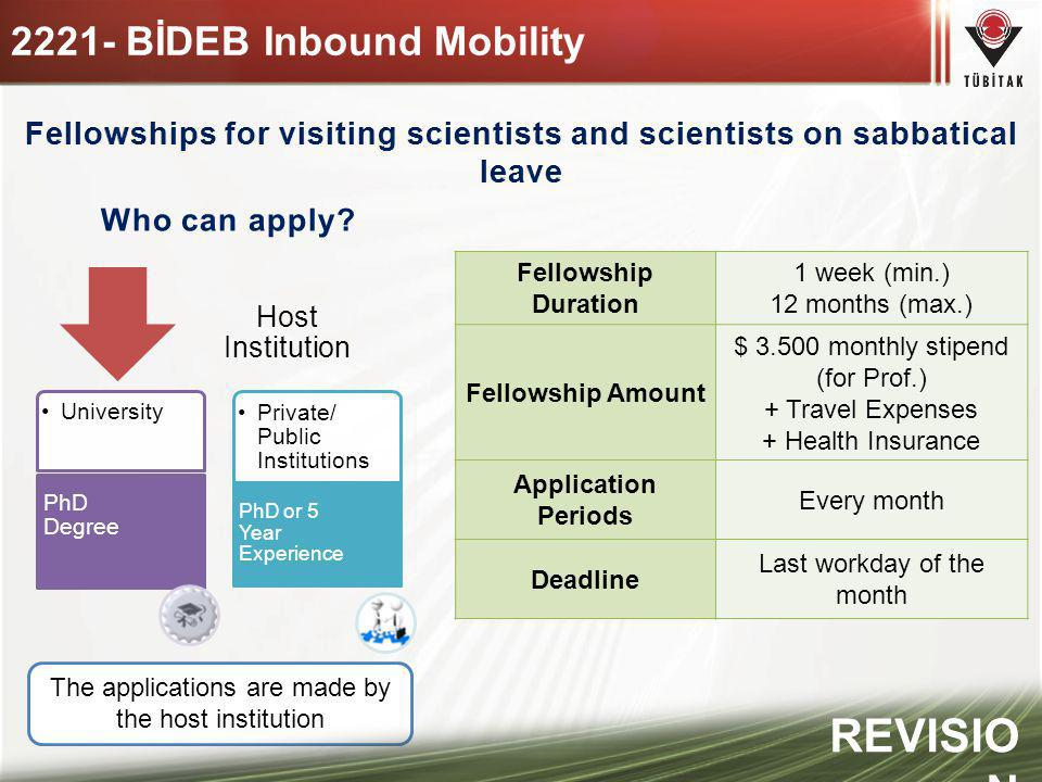 Fellowships for visiting scientists and scientists on sabbatical leave