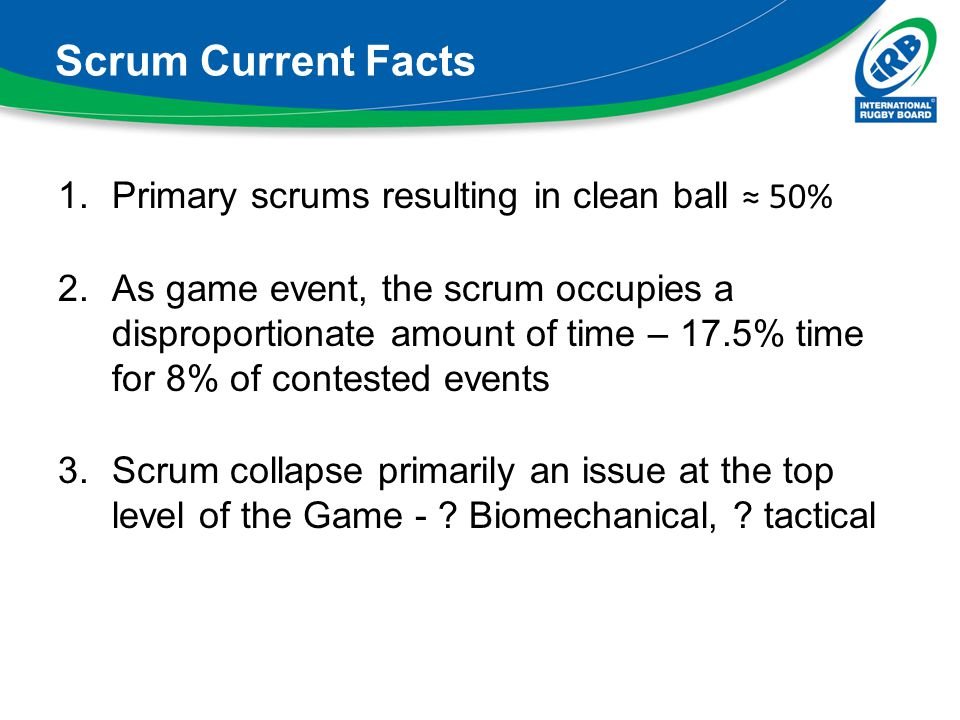 Scrum Current Facts Primary scrums resulting in clean ball ≈ 50%