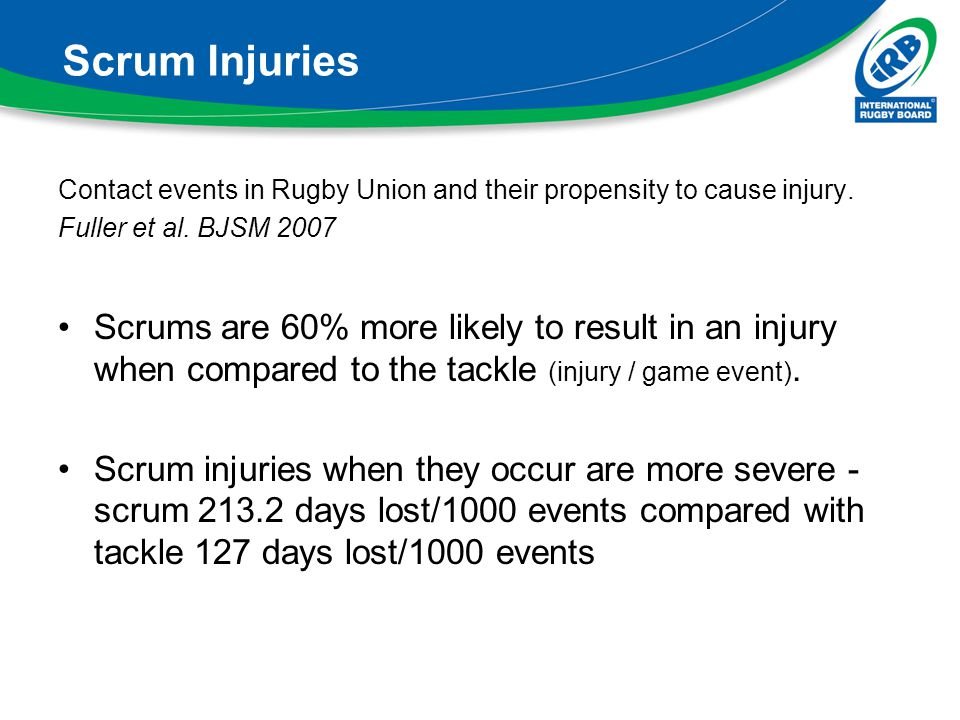 Scrum Injuries Contact events in Rugby Union and their propensity to cause injury. Fuller et al. BJSM