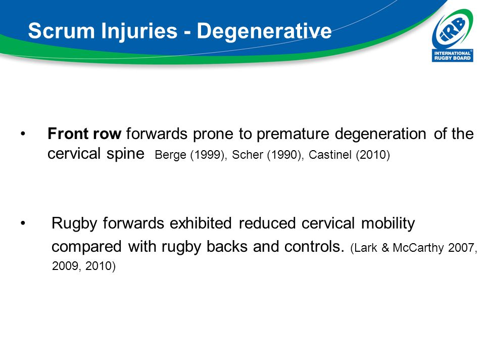 Scrum Injuries - Degenerative