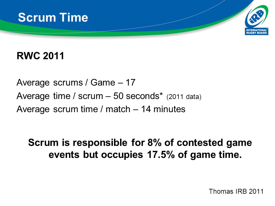 Scrum Time RWC Average scrums / Game – 17. Average time / scrum – 50 seconds* (2011 data) Average scrum time / match – 14 minutes.