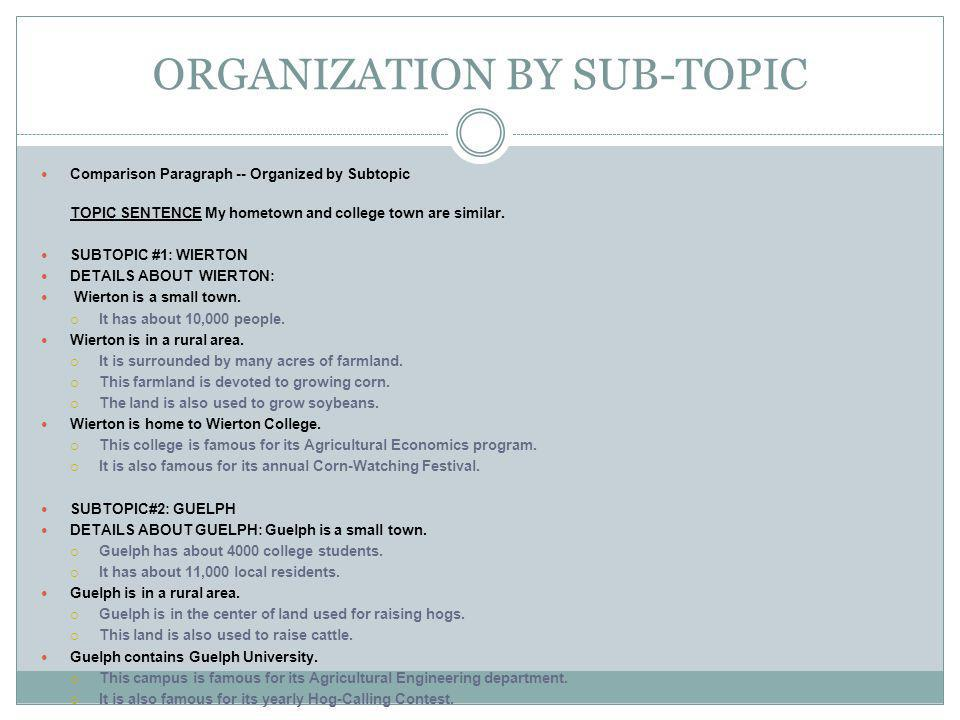 ORGANIZATION BY SUB-TOPIC
