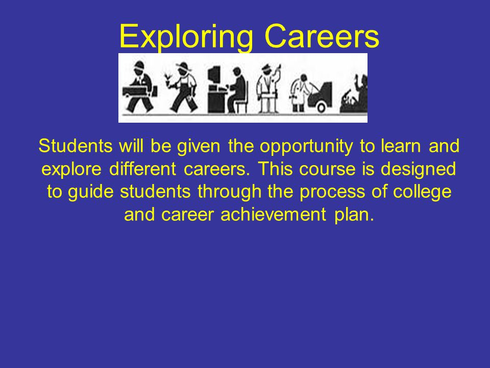 Exploring Careers Students will be given the opportunity to learn and explore different careers.