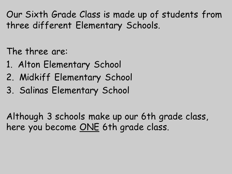 Our Sixth Grade Class is made up of students from three different Elementary Schools.