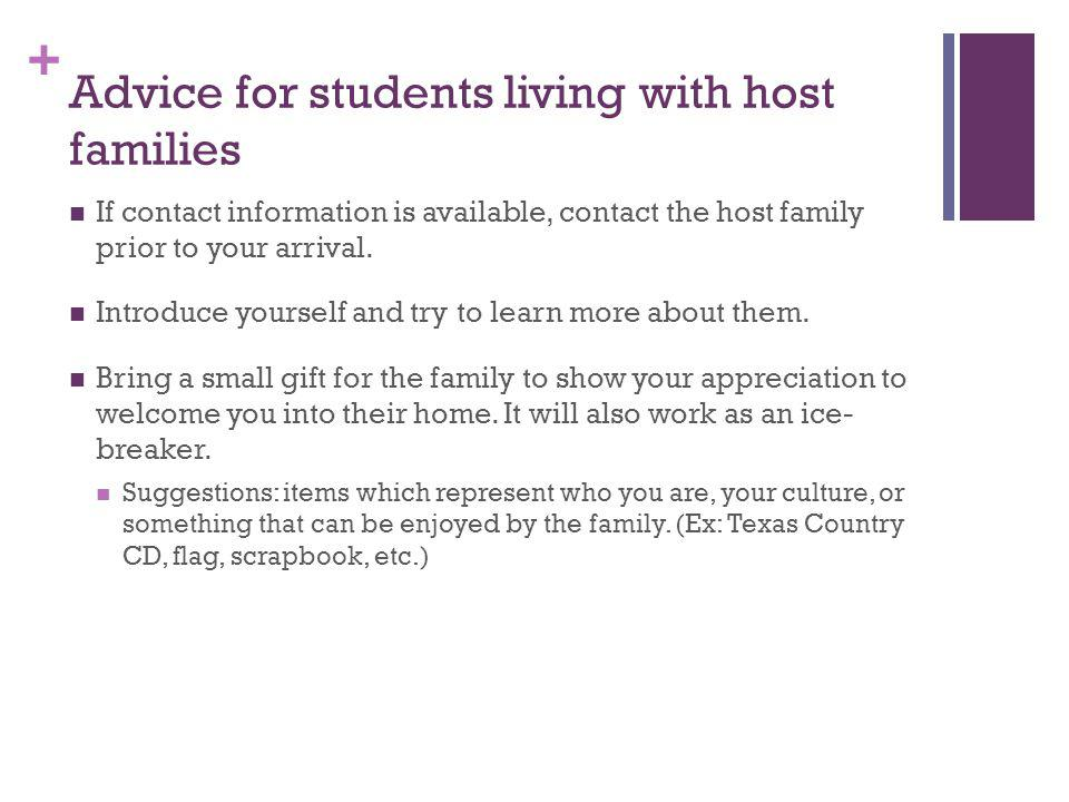 Advice for students living with host families