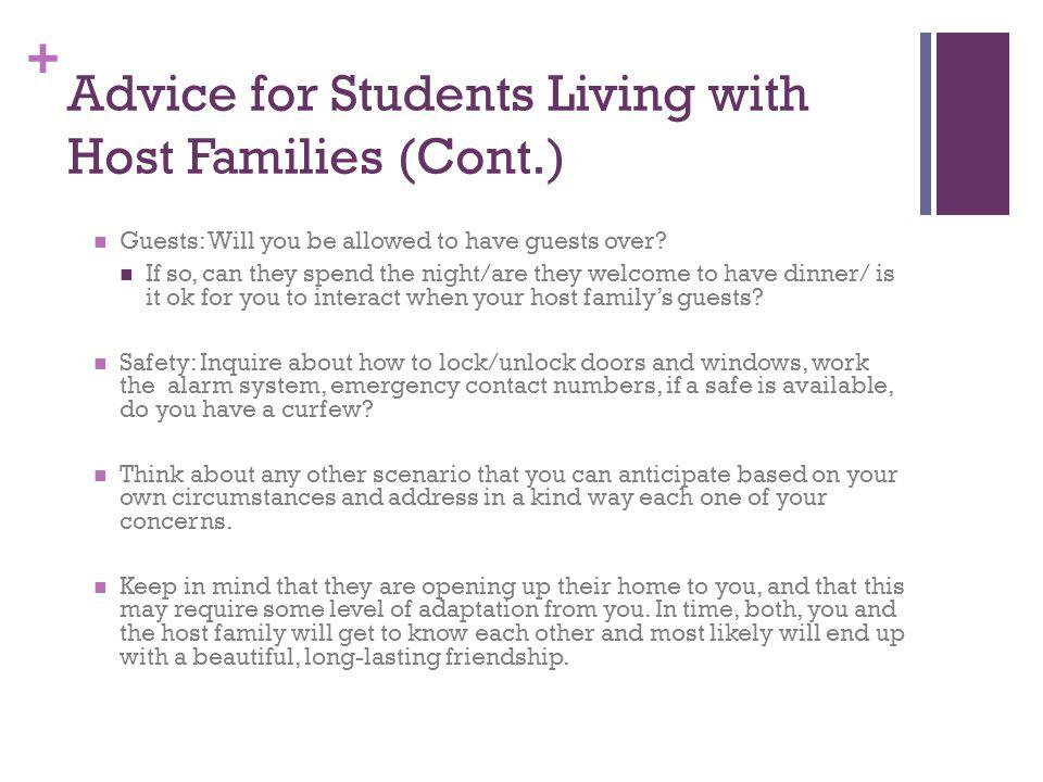 Advice for Students Living with Host Families (Cont.)