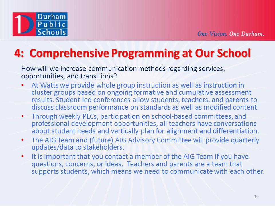 4: Comprehensive Programming at Our School